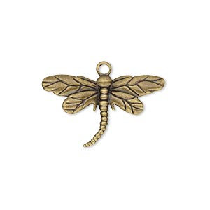 Charm, antique gold-plated brass, 26x15mm single-sided dragonfly.