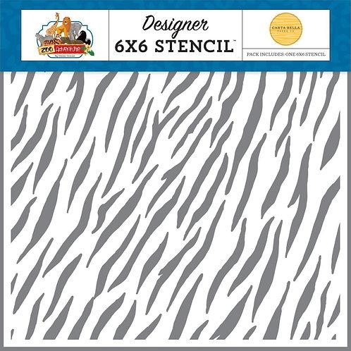 """Carta Bella Stencil 6""""X6"""" - Zebra"""