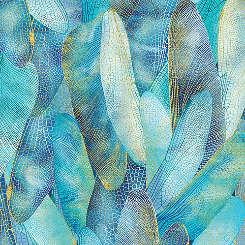 Dance of the Dragonfly - Aquamarine -per metre