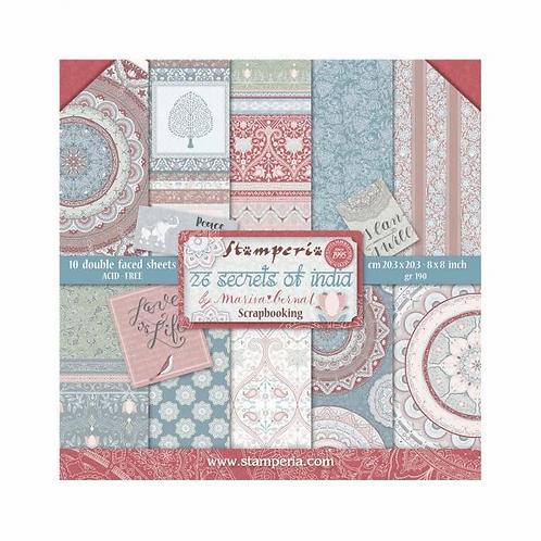 Stamperia® 8 x 8 Paper Pad - 26 Secrets of India