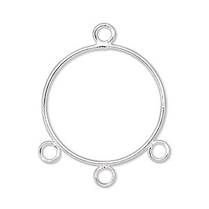 Drop, silver-plated steel, 21mm round with 3 loops.