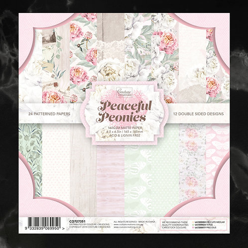 Couture Creations 6.5 x 6.5 Paper Pad - Peaceful Peonies