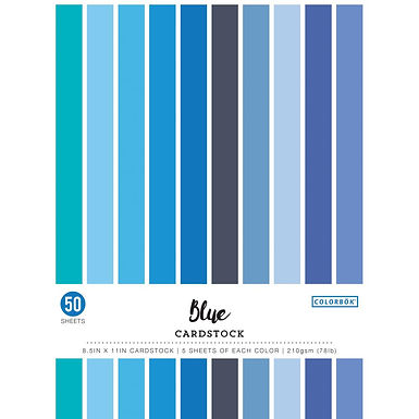"""Colorbok® Smooth Cardstock stack 8.5"""" x 11"""" - Blues"""