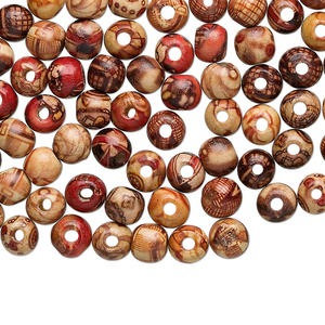 Bead mix, wood (coated), multicolored, 8mm hand-cut round with painted pattern