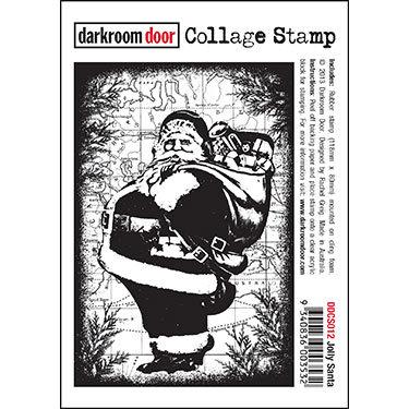 Darkroom Door Collage Stamp - Jolly Santa
