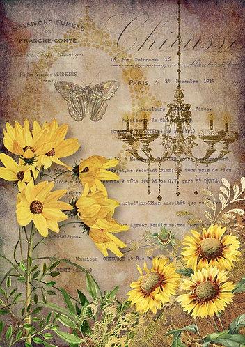 Decoupage Queen® Decoupage Paper - Elegant Sunflowers with Chandelier