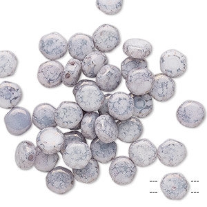 Preciosa, Czech pressed glass - marbled opaque lavender - 6mm puffed disc bead