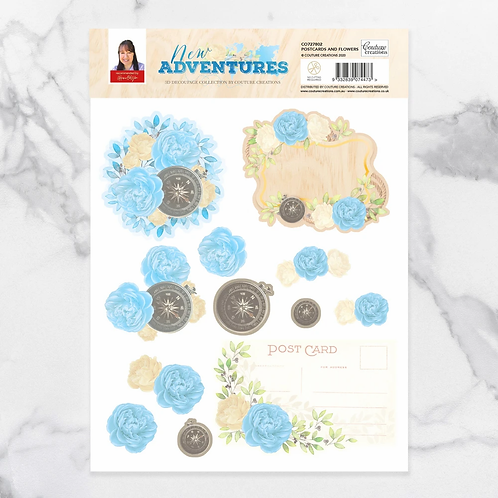 Couture Creations®New Adventures Decoupage Flower and Postcard Set