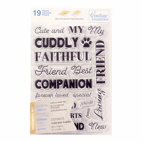 Couture Creations® Stamp Set - Cute and Cuddly Sentiment (19pc)