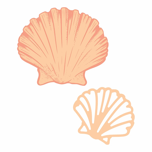 Couture Creations® Seaside Girl - Flat Seashell Mini Stamp and Die Set (3pc)