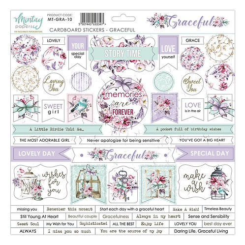 Graceful 12 x 12 Chipboard Sticker Sheet by Mintay Papers