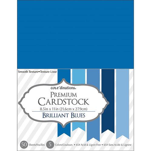 """Darice® Value Pack Smooth Cardstock 8.5""""X11"""" 50/Pkg - Brilliant Blues"""