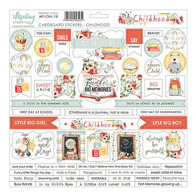 Childhood 12 x 12 Chipboard Sticker Sheet by Mintay Papers