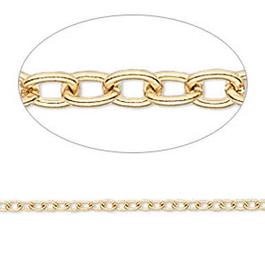 Chain, gold-finished brass, 3x2.5mm cable