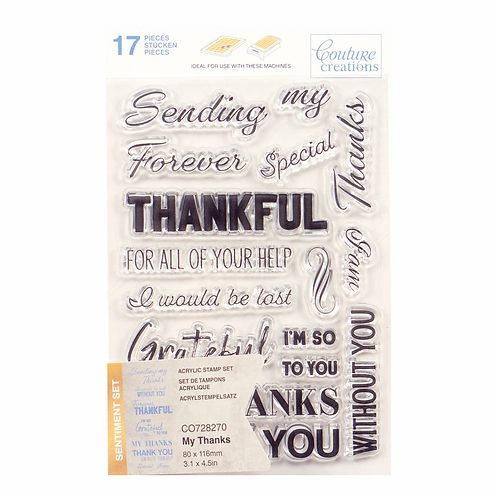 Couture Creations® Stamp Set - My Thanks Sentiment (16pc)