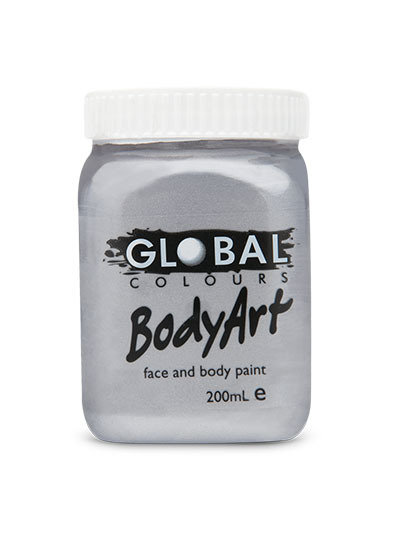 Global Bodyart Paint - Metallic Silver - 200ml
