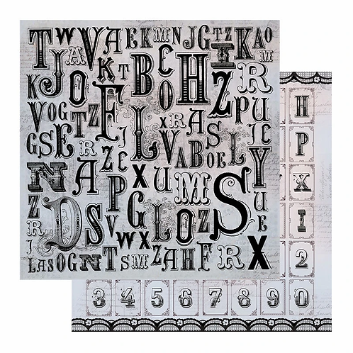 Ultimate Crafts Patterned Paper Sheet - 12x12 - Typography