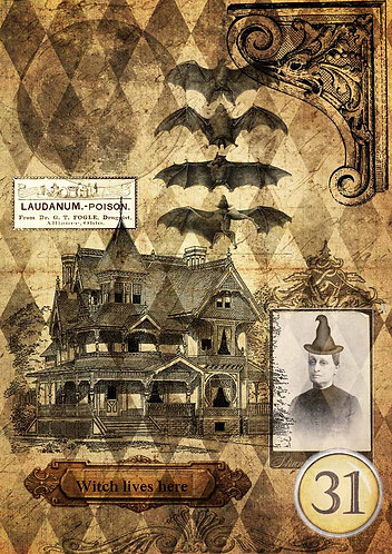 Decoupage Queen® Decoupage Paper - Halloween Haunted House with Witch
