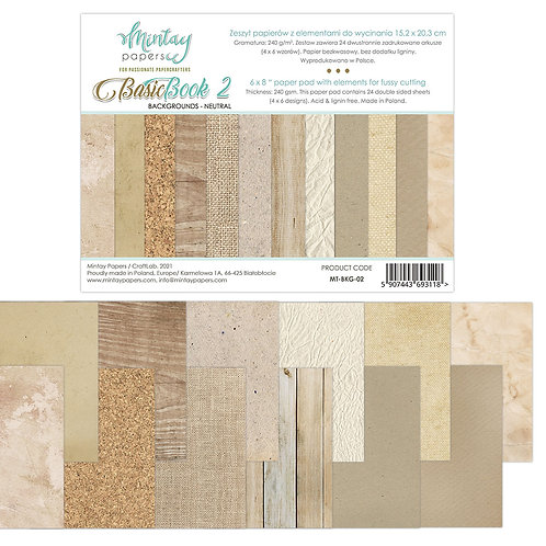 Basic Backgrounds Book by Mintay Papers® - Neutrals - 6 x 8