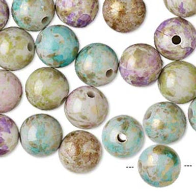 Bead mix, acrylic, mixed colors, 10mm round with speckles