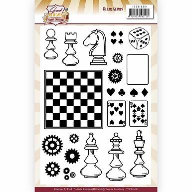 Clear Stamps - Yvonne Creations - Good old days -  Chess Game