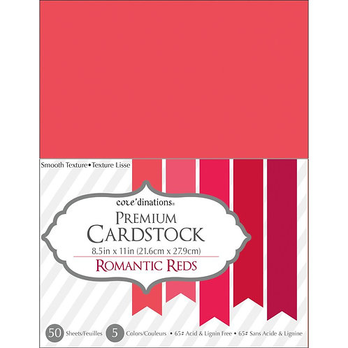 "Darice Value Pack Smooth Cardstock 8.5""X11"" 50/Pkg - Romantic Reds"