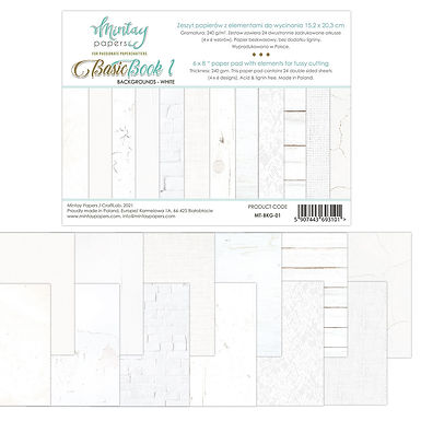 Basic Backgrounds Book by Mintay Papers® - Whites - 6 x 8