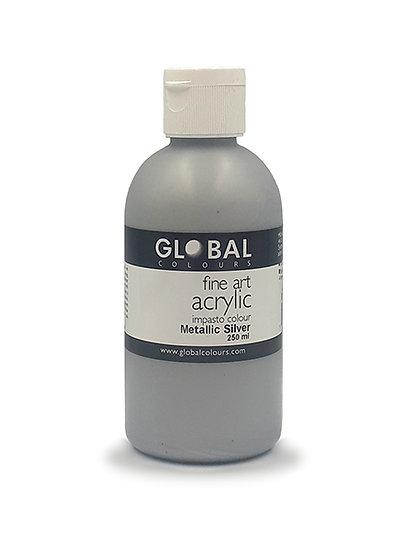 Global Artist Acrylic - Metallic Silver - 250ml