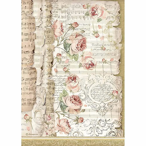 Stamperia® A4 Rice Paper - Roses and Music
