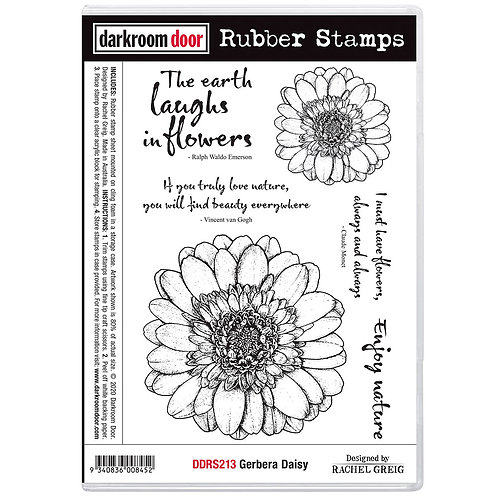 Darkroom Door® Rubber Stamp Set - Gerbera Daisy