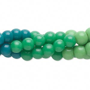 Bead, glass, transparent to opaque shaded green to teal green, 6mm