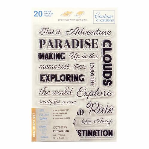 Couture Creations® Stamp Set - Exploration Sentiment (20pc)