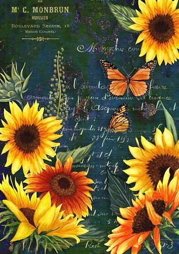 Decoupage Queen® Decoupage Paper - Sunflowers & Monarch Green