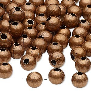 Bead, antique copper-plated steel, 8mm round with 2.5mm hole.