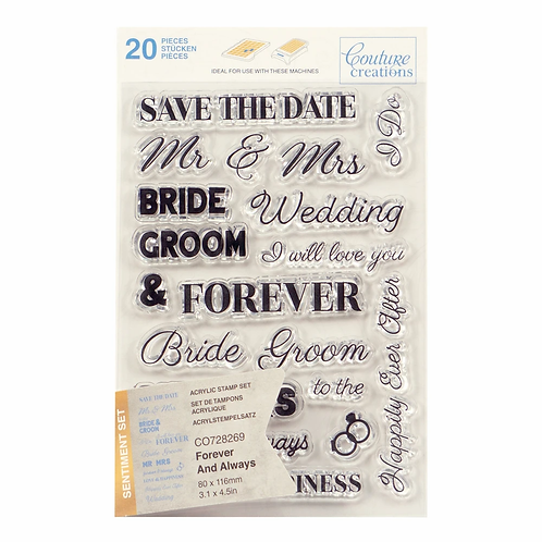 Couture Creations® Stamp Set - Forever and Always Sentiment (20pc)