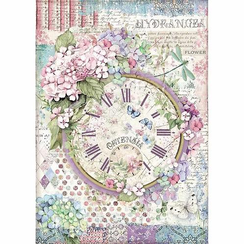 Stamperia® A4 Rice Paper - Clock Hortensia