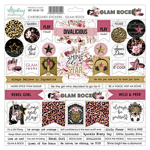 Glam Rock 12 x 12 Chipboard Sticker Sheet by Mintay Papers