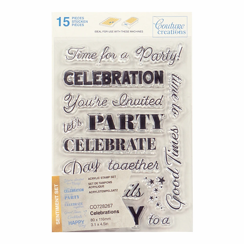 Couture Creations® Stamp Set - Celebrations Sentiment (15pc)