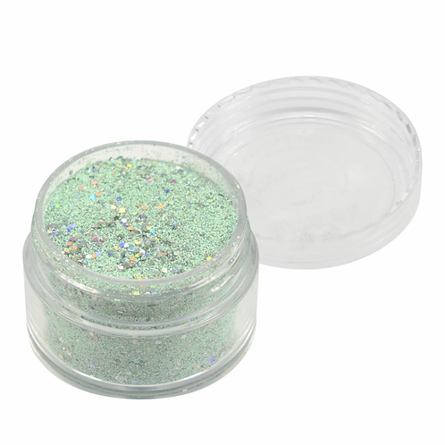 Emboss Powder - Pastels - Pastel Mint With Holographic Silver Glitters