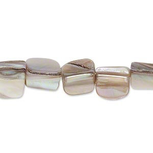 Bead, mother-of-pearl shell (natural), mini to small nugget