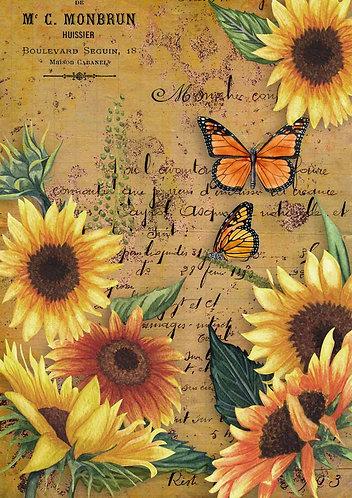 Decoupage Queen® Decoupage Paper - Sunflowers & Monarch Butterfly