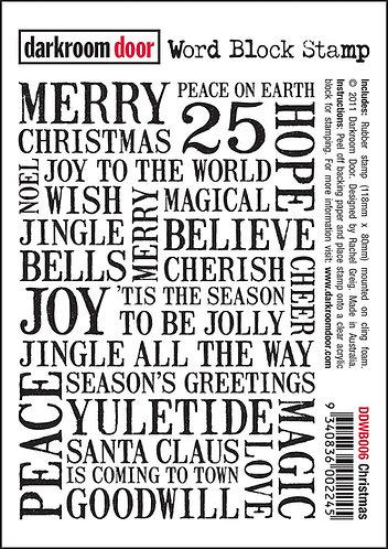 Darkroom Door Word Block Stamp - Christmas