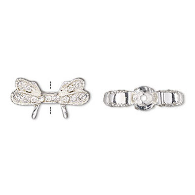 """Bead, glass rhinestone and silver-finished """"pewter"""" , clear, wings"""