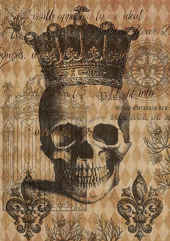 Decoupage Queen® Decoupage Paper - Halloween Skull with Crown