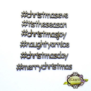 2Crafty Chipboard - Christmas Hashtag Words Set