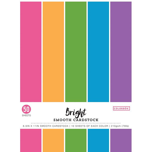 """Colorbok® Smooth Cardstock stack 8.5"""" x 11"""" - Bright"""