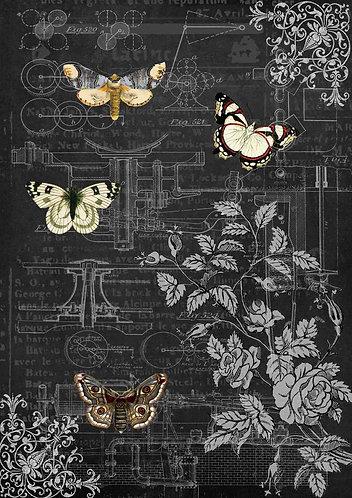Decoupage Queen® Decoupage Paper - Mechanical Butterflies II