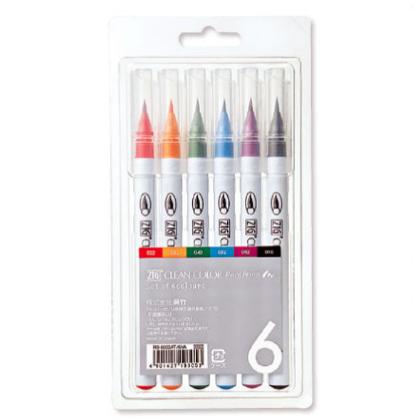 Kuretake ZIG Clean Color Real Brush Pen - 6 Color Set