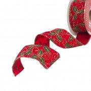Velvet Holly Red Ribbon 50mm x 10m