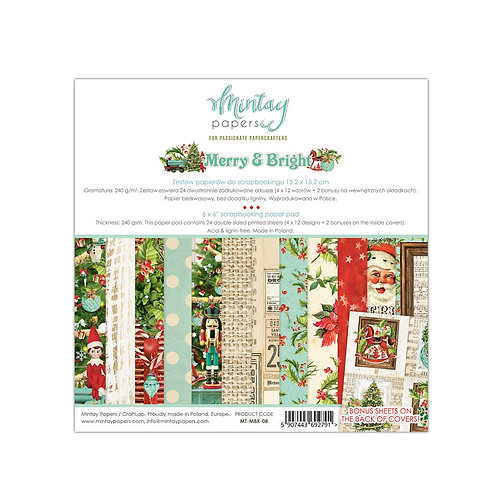 Merry and Bright 6 x 6 Paper pad by Mintay Papers